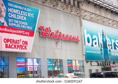 New York, United States, August 18, 2018:Walgreens store exterior and sign. Walgreens is the largest drug retailing chain in the United States.