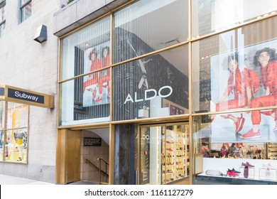 New York, United States, August 18, 2018:Logo of the main Aldo store in New York. The Aldo Group is a Canadian retailer spedialized in shoes and accessories stores.