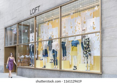 New York, United States, August 18, 2018:Loft fashion store in Manhattan, New York. As of 2012 Ann Taylor had 981 stores under brands Ann Taylor and Loft.