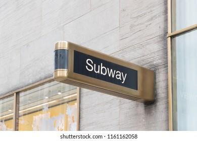 New York, United States, August 18, 2018:New York City subway sign