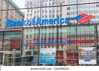 New York, United States, August 18, 2018: logo of Bank of America in modern office building in New York. Bank of America is a banking and financial services corporation. Editorial.