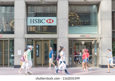 New York, United States, August 18, 2018:HSBC bank branch in New York. HSBC Holdings plc is the fifth largest bank by total assets in the world.
