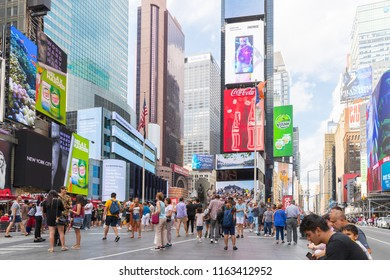 New York, United States, August 18, 2018:Times Square ,is a busy tourist intersection of neon art and commerce and is an iconic street of New York City and America.