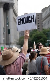 New York, New York / United States - August 18, 2019 - Protestors at a Moms Demand Action rally against gun violence in Foley Square calling for federal background checks and federal red flag bills.