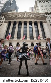 New York, United States - August 14, 2019: The fearless girl in front of New York stock exchange