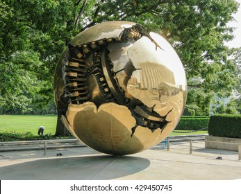 NEW YORK, UNITED STATES - august 15, 2009 -   new york  Sphere within Sphere, the sculpture of Arnaldo Pomodoro sculpture at the entrance of the UN headquarters