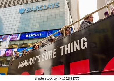 New York, United States - December, 20th, 2017. A tourist bus in Broadway avenue, Manhattan