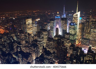 NEW YORK, UNITED STATES - DECEMBER 02, 2013:  New york city from empire state observatory, Times Square can be located by the lights
