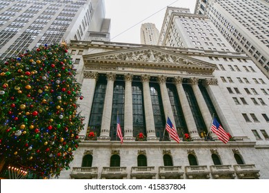 NEW YORK, UNITED STATES - DECEMBER 28,  2015 - landscape New York Stock Exchange Wall Street business center with a giant Christmas tree