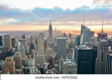 NEW YORK, UNITED STATES - DECEMBER 28, 2015 - view at sunset skyline of skyscrapers in Manhattan United States