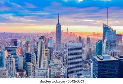 NEW YORK, UNITED STATES - DECEMBER 31, 2016 -   The New York City in the night taken from Rockefeller Center