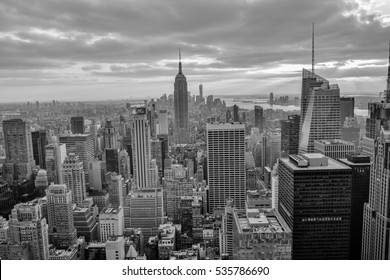 NEW YORK, UNITED STATES - DECEMBER 31, 2015 -  aerial view of the skyscrapers of New York from rockefeller center in black and white