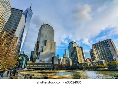 NEW YORK, UNITED STATES - DECEMBER 30, 2016 -    Panoramic view of New York City in winter