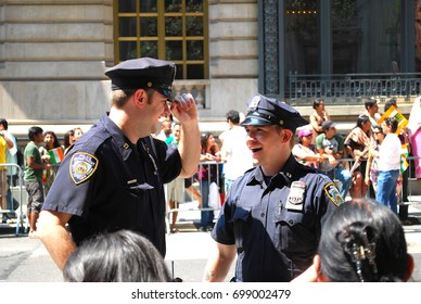 New York, United States - Jan 1: NYPD officers in New York City, United States on Jan 1, 2009. NYPD officers talking in Broadway street during Indian Republic day parade.