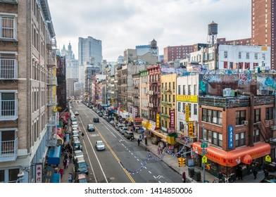 NEW YORK, UNITED STATES - JANUARY 1, 2010: Chinatown neighborhood in New York City, United States of America.