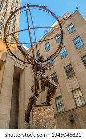 New York - United States, January 28, 2020 :  Rockefeller Center, Atlas Statue by Lee Lawrie. The Atlas Statue is a bronze statue by Lee Lawrie, made in 1936 and installed since 1937.