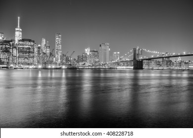 NEW YORK, UNITED STATES, JANUARY 02, 2016 - View in black and white from the Brooklyn Bridge from Manhattan skyline