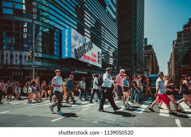 New York, United States, July 19, 2018: New York City street road in Manhattan at summer time. Urban big city life concept background.