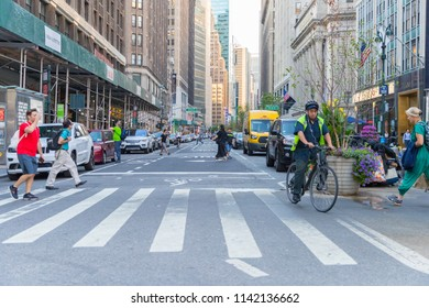New York, United States, July 19, 2018: New York City street road in Manhattan