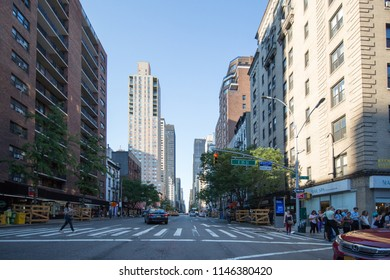 New York, United States, July 19, 2018:  New York City street road in Manhattan,is a busy tourist intersection of neon art and commerce and is an iconic street of New York City and America