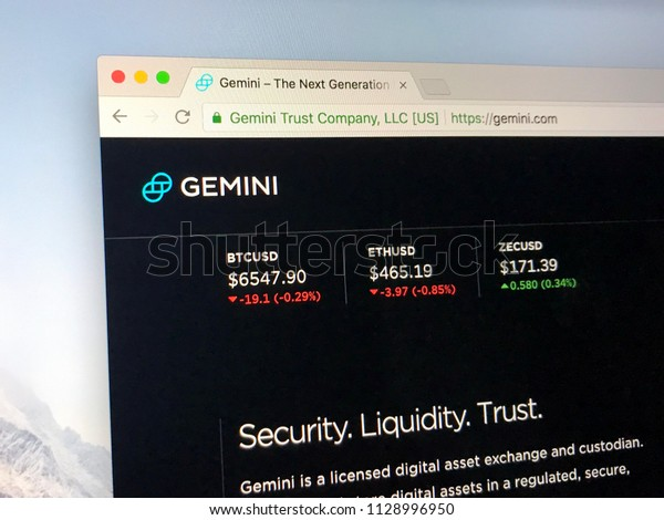 New York, United States - July 7, 2018: Website of Gemini Trust Company, LLC, a digital currency exchange and custodian.