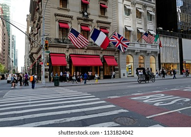 NEW YORK, UNITED STATES, JUNE 16, 2018: famous Cartier boutique on the 5th Avenue's corner at Manhattan, in New York.