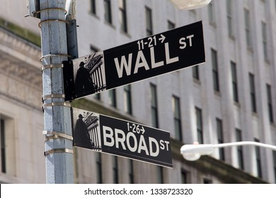 NEW YORK, UNITED STATES - June 3, 2017: Closeup of street sign in the corner of Wall Street and Broad Street