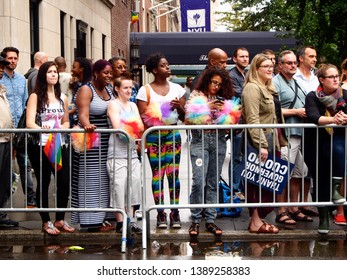 New York, United States June 28, 2015 peple waiting to see the New York gay parade