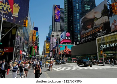 NEW YORK, UNITED STATES JUNE-14, 2018: summer sunny day in Times Square , in New York.