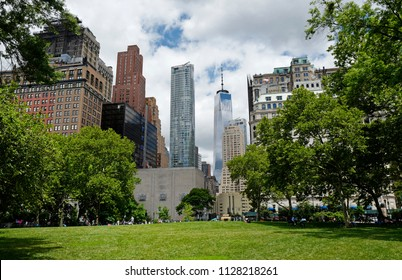 NEW YORK, UNITED STATES JUNE-15, 2018: Freedom Tower building seen from Battery Park, in New York.