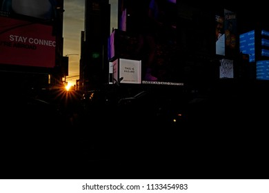 NEW YORK, UNITED STATES, JUNE-17, 2018: sunset at Times Square when the lights are turned on, sunset in Manhattan, in New York.