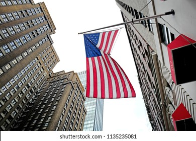 NEW YORK, UNITED STATES, JUNE-17, 2018: USA flag waving in Manhattan, in New York.