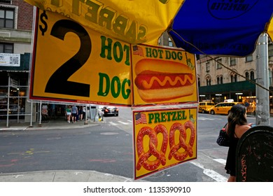 NEW YORK, UNITED STATES, JUNE-17, 2018: hot dog sign advertisment on a street food van in Manhattan, in New York.