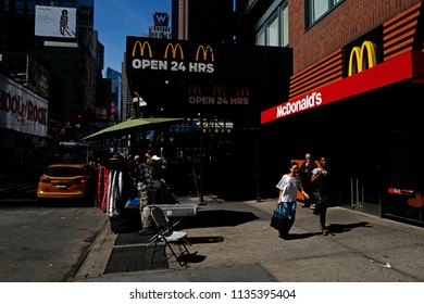 NEW YORK, UNITED STATES, JUNE-17, 2018: McDonald's open 24 hours in Manhattan, in New York.