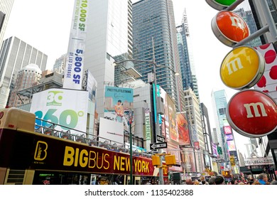NEW YORK, UNITED STATES, JUNE-17, 2018: nyc advertisements and city bus in Manhattan, in New York.