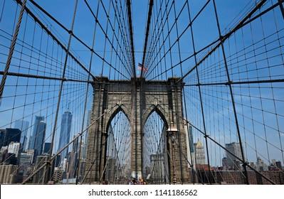 NEW YORK, UNITED STATES, JUNE-18, 2018: Brooklyn bridge, with blue sky over Manhattan skyline, in New York.