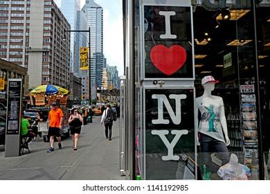 NEW YORK, UNITED STATES, JUNE-18, 2018: souvenir shop window on a corner street of Manhattan, in New York.