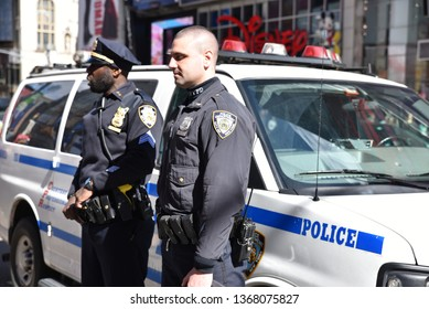 New York, United States - March 2019: NYPD Offices on Duty at Times Square area in New York City