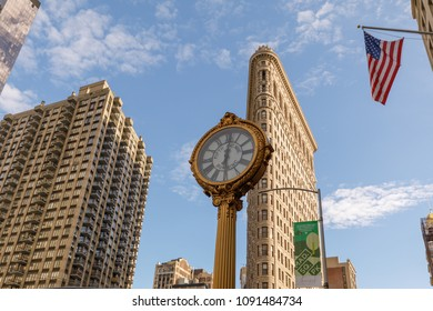 New york, United States - May 12, 2018 : The Flatiron building with the 5th Ave Building Clock in Manhattan in New York, NY