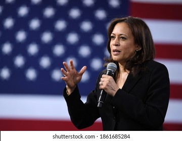New York, United States, November 2020, America's new vice President Kamala Harris in public meeting