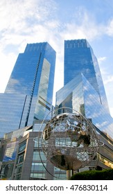 New York, United States - November 6, 2015: Time Warner Center is is a twin-tower building, located at the southwest corner of Central Park.