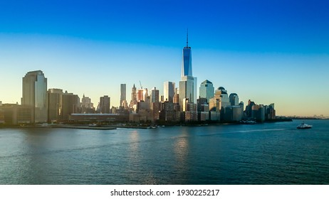 NEW YORK, UNITED STATES - Oct 19, 2014: A view of New York from the Hudson River by day