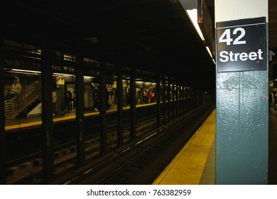 New York, United States - October 04, 2008: 42nd Street underground station