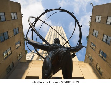 New york, United States - Sep 6, 2017 : Atlas statue located in Fifth Avenue, Manhattan, New York City