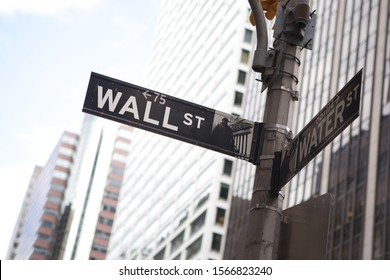 New York, United States - September 10 2010 Wall street sign in New York City. Financial Centre.