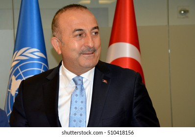 New York, United States. September 22nd 2016 - Turkish Foreign Minister Mevlut Cavusoglu during the meeting