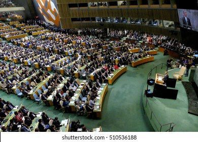 New York, United States. September 20th, 2016: United States President Barack Obama holds a speech at the General Debate of the 71st Session of the General Assembly of the United Nations