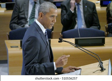 New York, United States. September 20th, 2016: President Barack Obama hosted a Leaders' Summit on the Global Refugee Crisis on the margins of UNGA 71