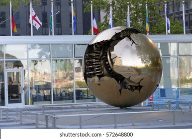 New York, United States. September 22nd 2016 - Sphere Within Sphere, a bronze sculpture in United Nations Headquarters