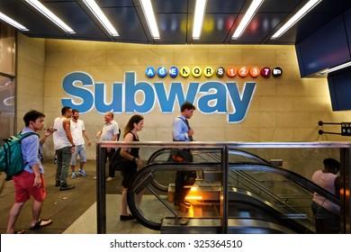 New York, US - 19 August 2015. Subway station New York entrance